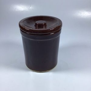 Brown lidded ceramic container